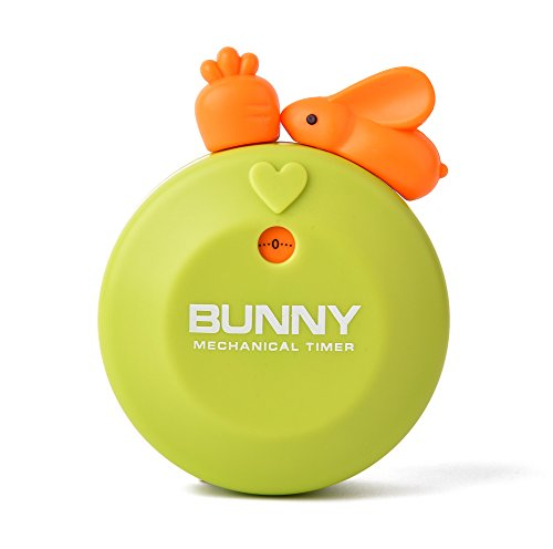 mer Mechanical Counter with Strong Magnetic Back, Creative and Cute Bunny Magnetic Manual Timer for Home Office Classroom Games (60 Min) ()