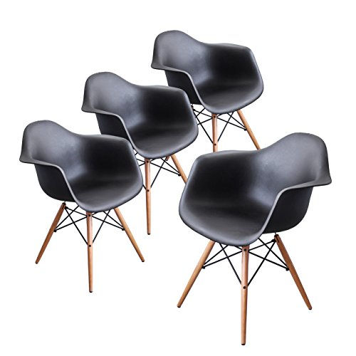 Buschman Set of Four Black Eames-Style Mid Century Modern Dining Room Wooden Legs Chairs, Armchairs For Sale
