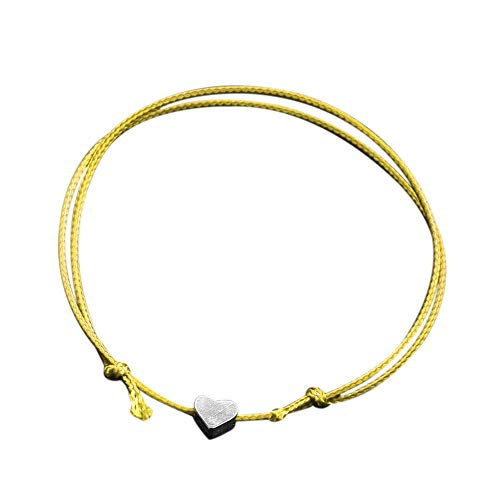 Alloy Heart Shape String Rope Adjustable Friendship Handmade Bracelet Anklet for Women Romantic Fashion Classic Bracelet (Yellow)