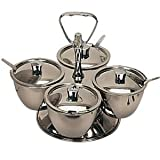 Revolving Relish Server 4 bowls. Stainless steel.