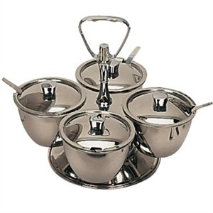 Revolving Relish Server 4 bowls. Stainless steel. by Olympia (Image #1)