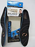 Copper Fit Balance Men Women Performance Orthotic Insoles, Large Size (Pack of 2)