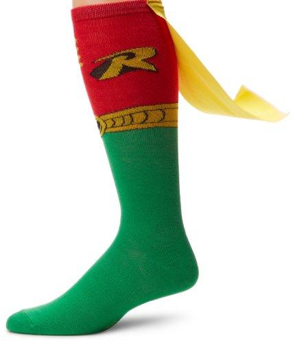 DC Comics Robin Juniors Knee High Cape Sock, Red, Sock Size:10-13/Shoe Size: 6-12