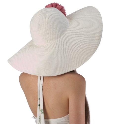 Luxury Lane Women's White Floppy Sun Hat with Pink Flower Appliques