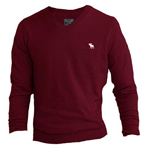 Merino Wool Blend Sweater (Abercrombie Men's Icon V-Neck Merino Wool Blend Sweater, M, Burgundy)
