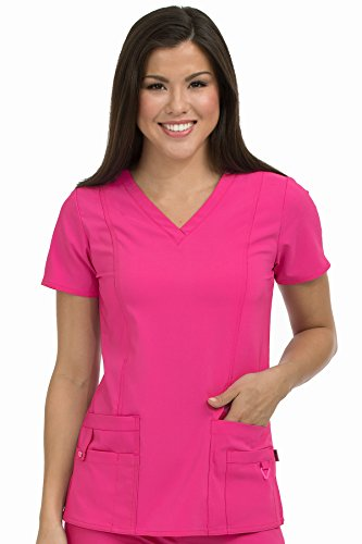 Med Couture Activate Scrub Top Women, V-Neck Princess Seam Top, Pink Punch, Large