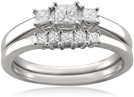 1/2 Carat Diamond, Prong-Set 14kt White Gold Princess-Cut Diamond Three-Stone Engagement Bridal Set Wedding Ring (I-J, I1-I2) via La4ve Diamonds | Real Diamond Wedding Ring For Women | Gift Box Included