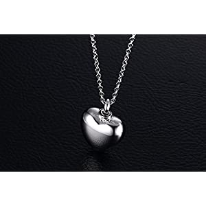 Stainless Steel High Polished Plain Love Heart Shape Ash Urn Pendant Perfume Bottle Pendant Necklace