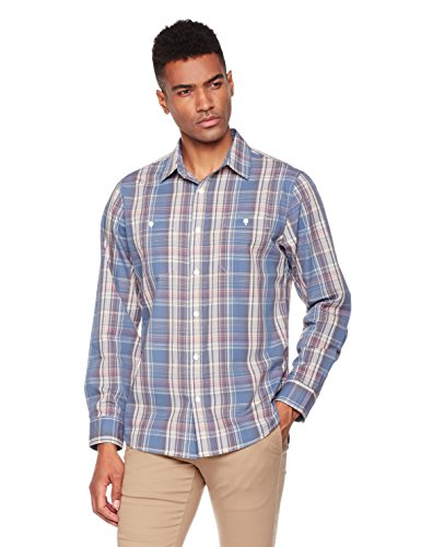 Wood Paper Company Men's Long Sleeve Regular Fit Buttoned 2-Pocket Cotton Madras Plaid Shirt X-Large Steel Blue