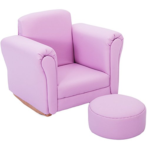 Harper & Bright Designs Kids sofa Armrest Chair Children Relax Couch (Chair and Ottoman Set Pink) by Harper & Bright Designs