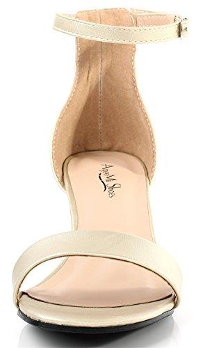 AgeeMi Shoes Mujer Tacón Medio Hebilla Puntera Abierta Sandalias de Vestir Gold Claro