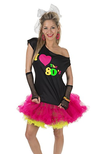 I Love the 80's Disco T-Shirt, Black/Multi, L/XL -
