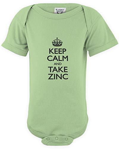 shirtloco Baby Keep Calm and Take Zinc Infant Bodysuit, Key Lime 6 Months