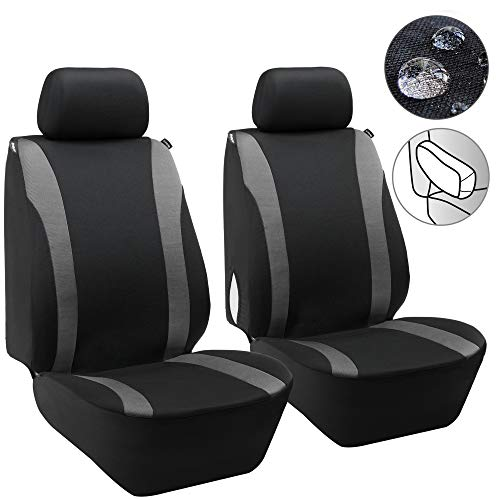 Elantrip Waterproof Front Seat Covers Car Water Repellent Bucket Seat Cover Universal Fit Airbag Armrest Compatible Black and Grey 2 PC