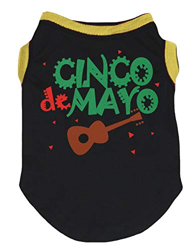 Petitebella Cinco De Mayo Guitar Cotton Shirt Puppy Dog Clothes (Black, Small)]()