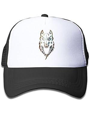 Gray Wolf Design Kids AdjustableTrucker Visor Cap Cute Hat