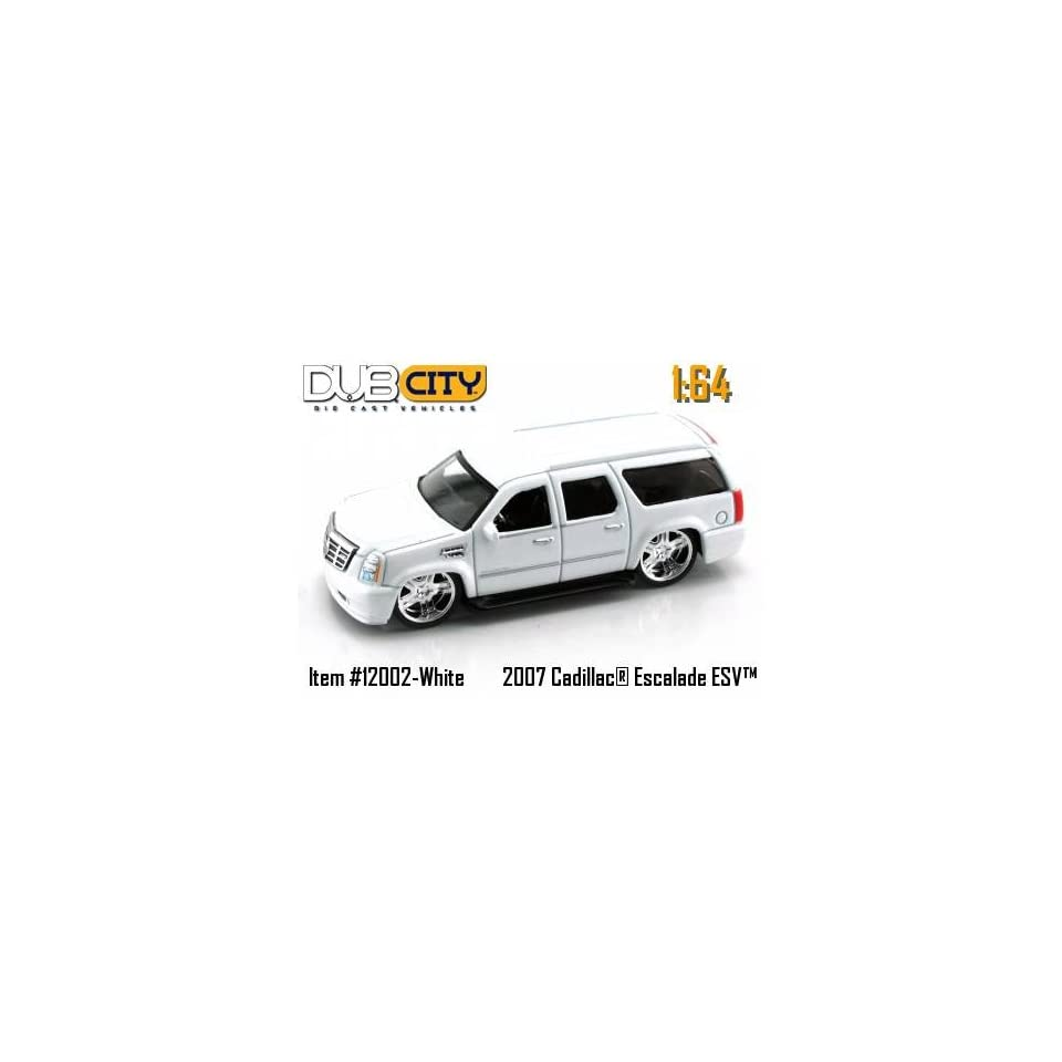 Jada Dub City Pearl White 2007 Cadillac Escalade ESV 164 Scale Die Cast Truck Car
