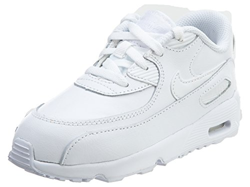 Nike Boy's Air Max 90 Leather (TD) Shoes, White/White 5C by NIKE