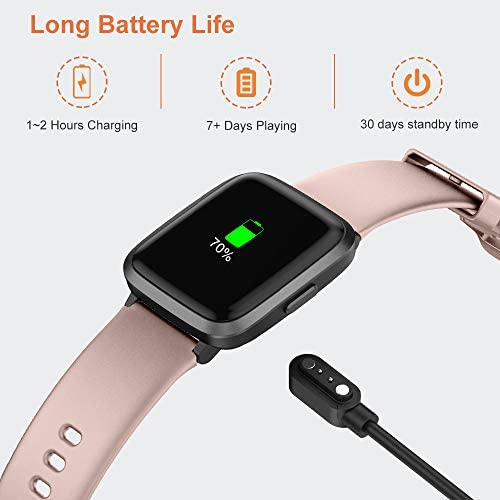 YAMAY Smart Watch 2020 Ver. Watches for Men Women Fitness Tracker Blood Pressure Monitor Blood Oxygen Meter Heart Rate Monitor IP68 Waterproof, Smartwatch Compatible with iPhone Samsung Android Phones 9
