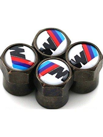 BMW M Sport Tech Tyre Wheel Valve Dust Caps Motorsport CARBON BLACK & WHITE X 4 CAR DOCTOR