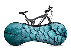 VELOSOCK Bicycle Indoor Storage Cover - Feathers - Best solution to keep floors and walls DIRT-FREE - Fits 99% of ALL ADULT Bicycles
