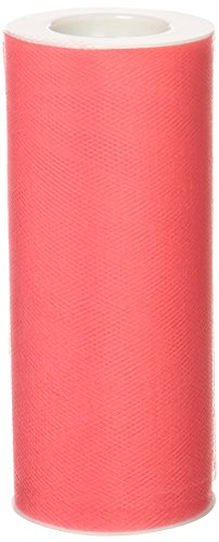BBCrafts Coral Polyester Tulle Roll 6 inch 25 Yards