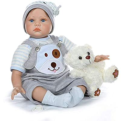 Nicery Icradle Reborn Baby Doll Soft Simulation Silicone Vinyl Cloth Body 21inch 53cm Lifelike Vivid Boy Girl Toy for Ages 3+ RD55C317: Toys & Games