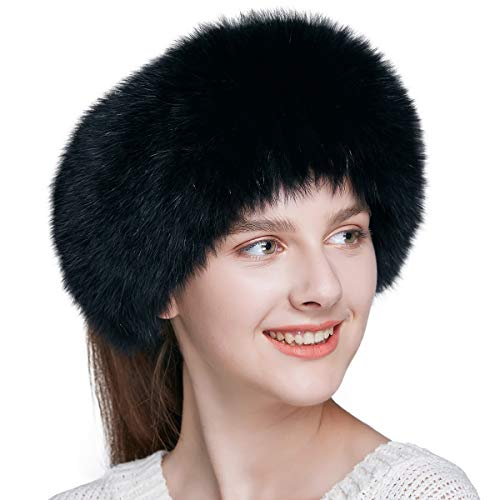 ENJOYFUR Women Headband Fox Fur Headband Winter Earwarmer Earmuff (Black)
