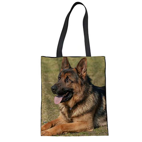 FOR U DESIGNS German Shepherd Print Linen Tote Bag Women Travel Shoulder Handbags