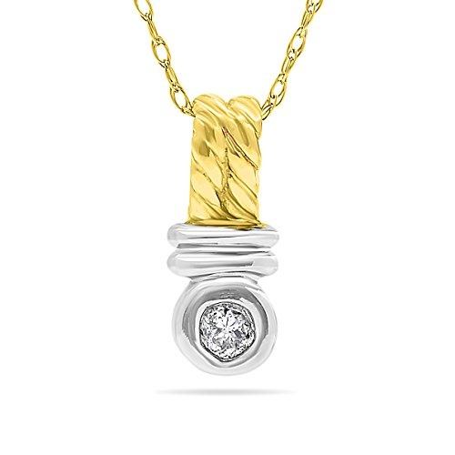14k Two-Tone White And Yellow Gold Diamond Solitaire Pendant Necklace, Birthstone of April, 18 Inch Chain.