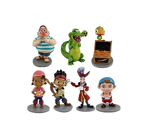 Jake NeverIand Pirates 7 Figures Complete Cake Topper Pack Toy Doll Set Love -