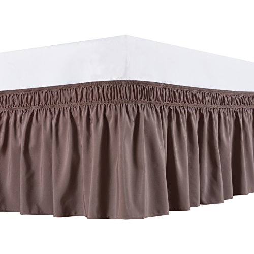 Biscaynebay Wrap Around Bed Skirt, Elastic Dust Ruffles, Easy Fit Wrinkle and Fade Resistant Durable Fabric, Taupe, King Size, 15