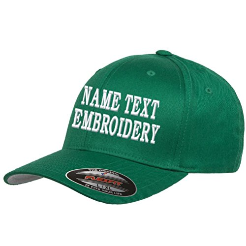 Custom Embroidery Hat Personalized Flexfit 6277 Text Embroidered Baseball  Cap - Green 441ed1cfcaf8