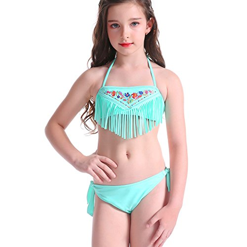 2 Piece Girls Halter Swimsuit (Sexybody Kids Girls Fashion Flower Patterned Bikini Tassels Halter Strap Two Piece Swimsuits Set)