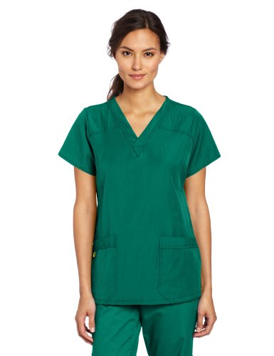 Loop Panels Side - WonderWink Women's Four Stretch Sporty V-Neck Scrub Top, Hunter Green, 4X-Large