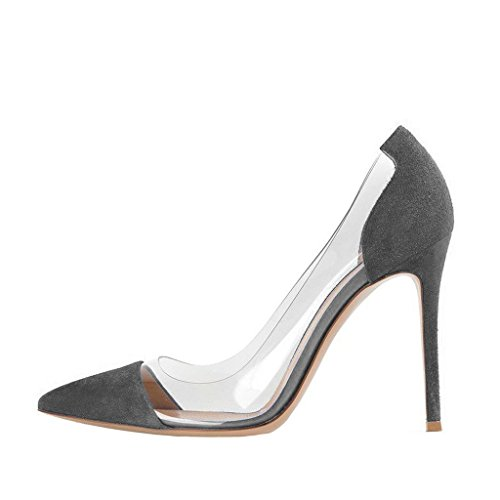 Grey Size On Stiletto 15 Heels US Clear Women Pumps FSJ High Dress 4 Party Elegant Slip Shoes Wedding TqOZw8