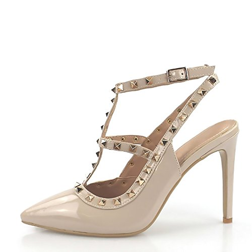 Kick Footwear Womens Office Shoes Low Heel Ankle Strap Evening Party Shoes Nude High Heel NF515 OgzQ71KM