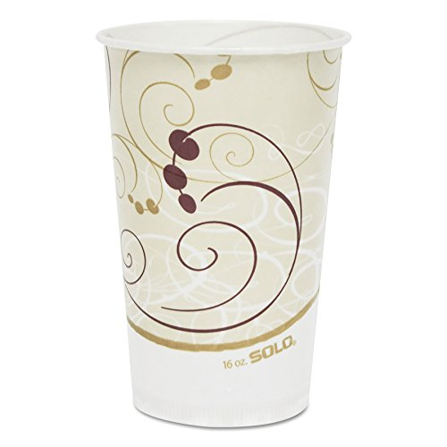 SOLO RW16-J8000 Symphony Design Wax Coated Paper Cold Cup, 16 oz Size (20 Packs of 50)
