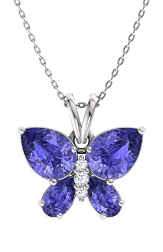 Diamondere Natural and Certified Tanzanite and Diamond Butterfly Petite Necklace in 14k White Gold | 1.11 Carat Pendant with Chain