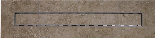 60'' LINEAR DRAIN WITH TILE INSERT GRATE WITH FREE LINEAR DRAIN HEIGHT ADJUSTER by Thunderbird Products, Inc.