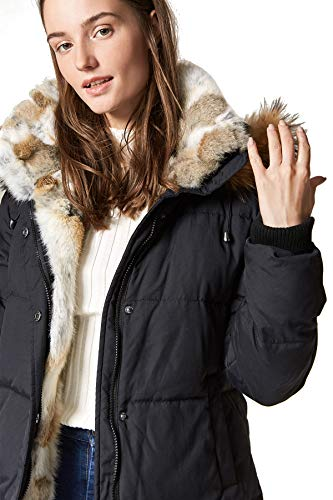 Escalier Women's Down Coat with Real Raccoon Fur Hooded Parka Jacket Black XS ()