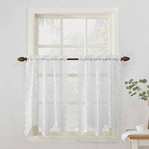 (No. 918 Alison Floral Lace Sheer Kitchen Curtain Tier Pair, 58