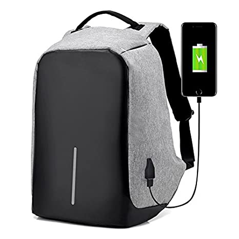 Anti-theft With USB Charging Port / Light-weight Student Functional Business Laptop Backpack / Water-resistant For Men / Women -Gray Navor