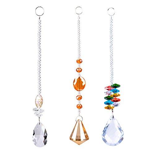 Chandelier Suncatchers-Sparkly Chakra Crystal Balls for Home,Office,Garden Decoration-Octagonal,Teardrop & Cone Shaped Prisms-Set of 3 Beautiful Pendants for Car,Plant,Window Décor,3Pcs