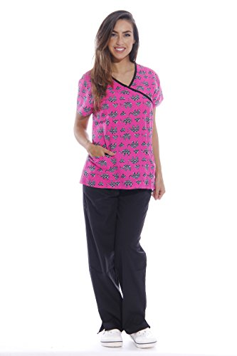 (Just Love Nursing Scrubs Set for Women / Print Scrubs (Mock Wrap), Print Set 17, Size XS)