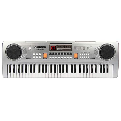 (BIGFUN 61 Keys Multifunction Portable Electronic Kids Piano Musical Teaching Keyboard for Kids Children Early Learning Educational Toy with Double Speakers (Silver))