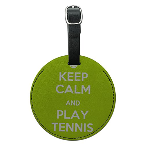 Graphics & More Keep Calm and Play Tennis Sports Round Leather Luggage Id Tag Suitcase Carry-on, Black