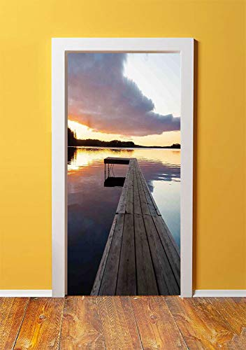 (Art 3D Door Sticker Wall Decals Mural Wallpaper,View of Sunset over an Old Oak Deck Pier and Calm Water of the Lake Horizon Serenity,DIY Art Home Decor Poster Decoration)