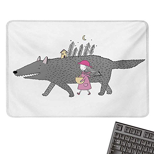 FantasyCustomize Mouse padGirl in a Pink Dress Walking with a Giant Wolf Fir Forest and a Small HouseCustomized Mouse Pad 15.7