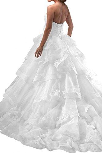 Gorgeous Bride Luxury Lang Herzform Princess-Stil Organza Hof-Schleppe Brautkleider Hochzeitskleider